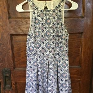 Jacquard Sleeveless Fit and Flare Dress